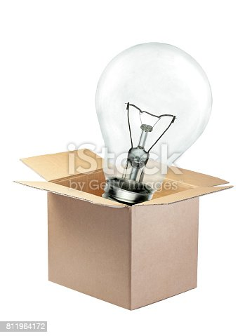 istock Light bulb out of the box concept isolated 811964172