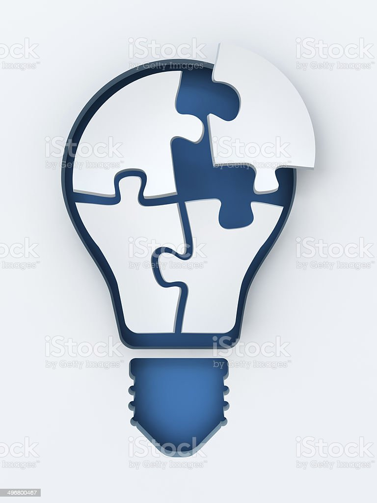 Light bulb paper cut with puzzles and copyspace, 3d render royalty-free stock photo