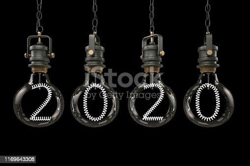 2020 Light Bulbs on black. 3D Render