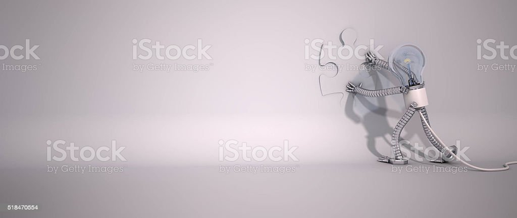 3D Light Bulb - Puzzle stock photo