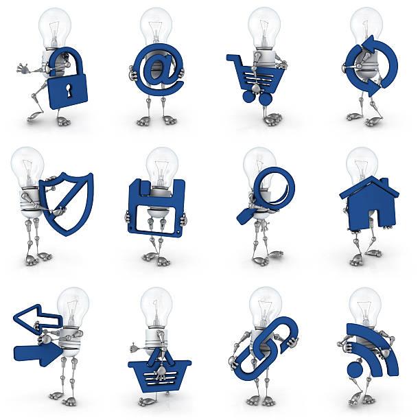電球のロボット-インターネットのアイコン ストックフォト