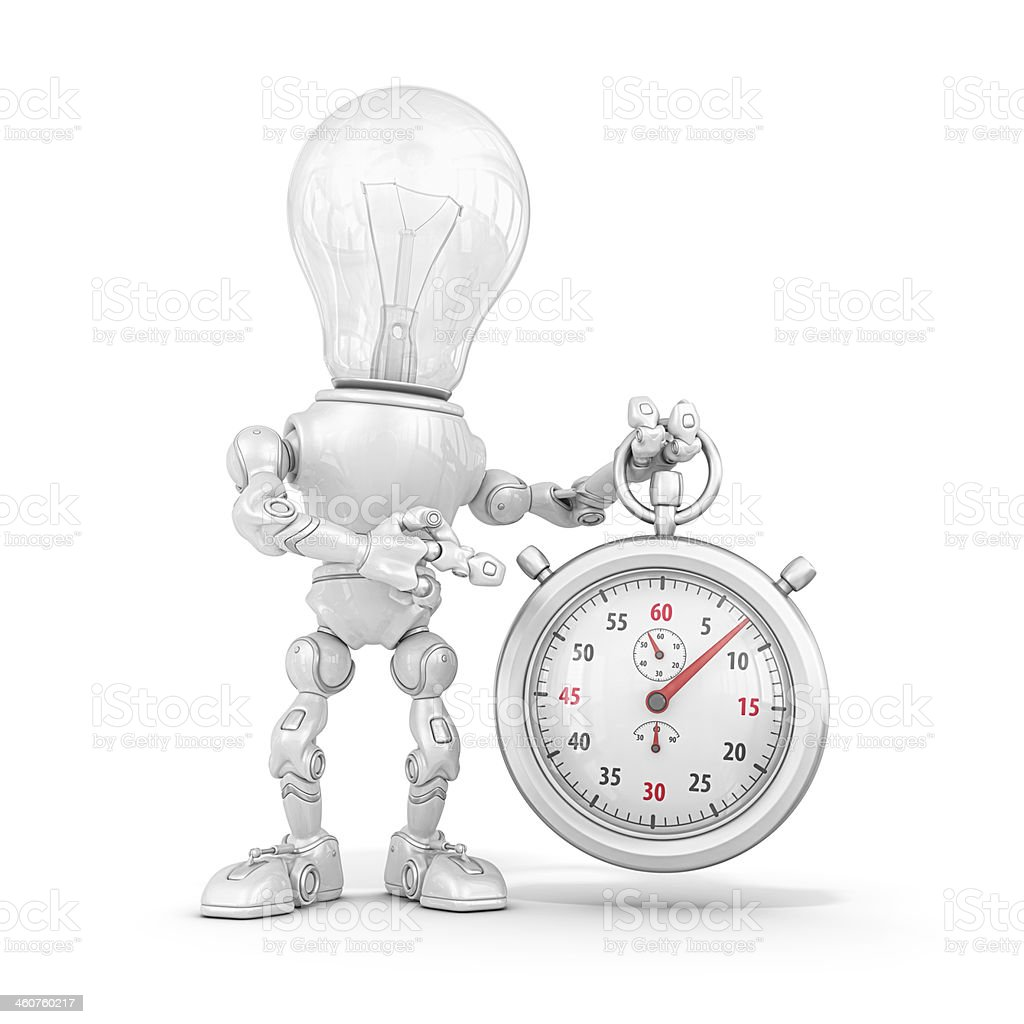 light bulb robot stock photo
