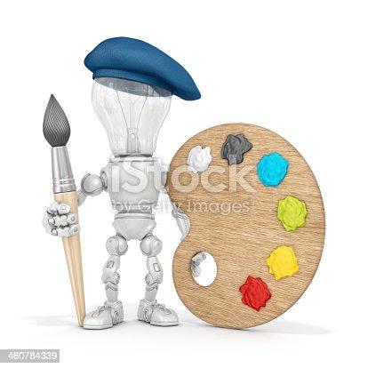910163152 istock photo light bulb robot 460784339
