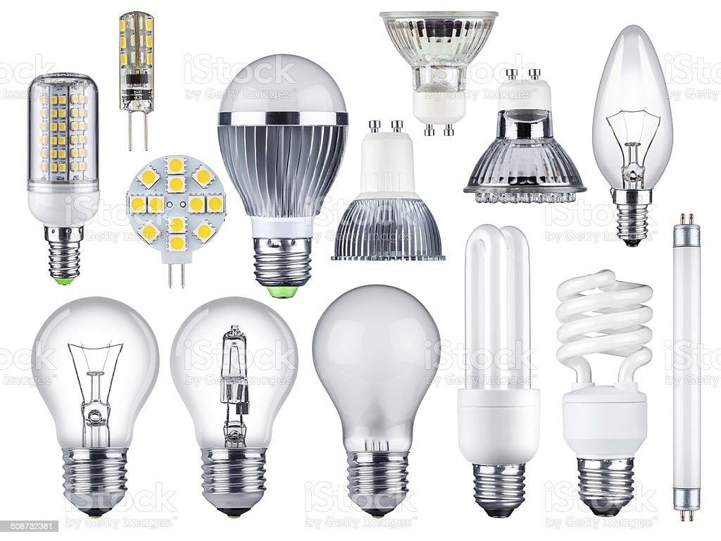 light bulb set stock photo