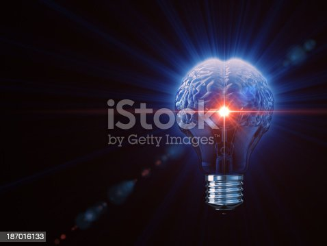 istock Light bulb shaped like a human brain 187016133