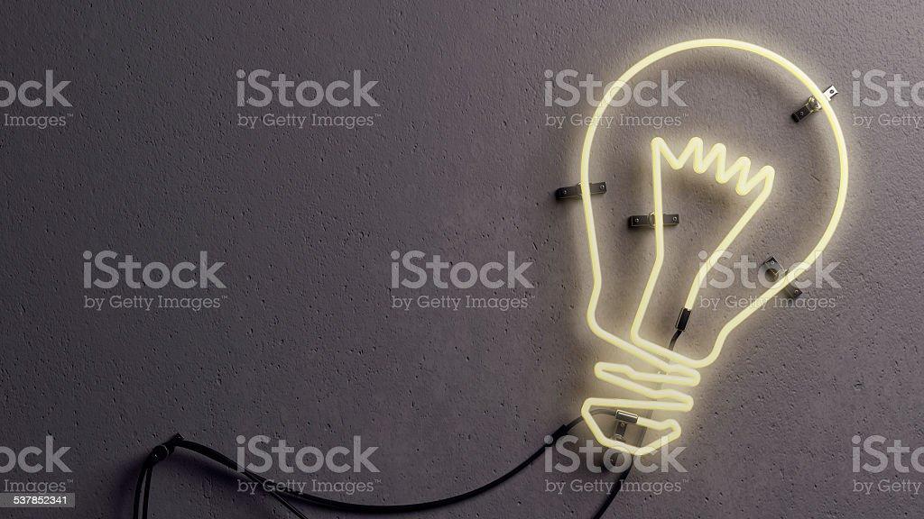 Light bulb shaped neon light stock photo