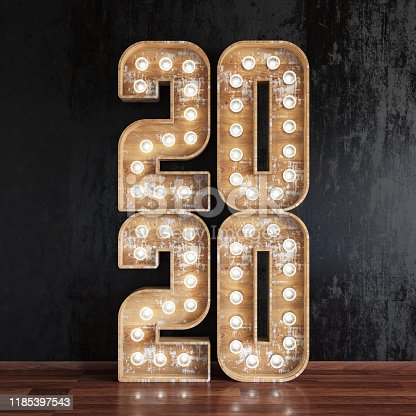 2020 Light Bulb Sign. New Year Concept. 3D Render