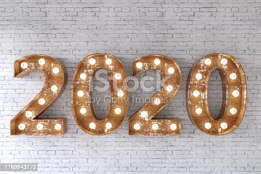 2020 Light Bulb Sign. New Year Concept. 3D Render