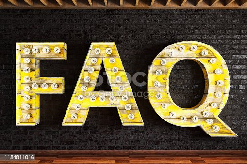FAQ Light Bulb Sign. 3d Render