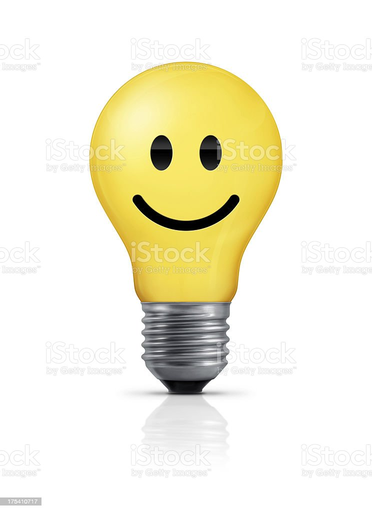 Light Bulb - Smiley Face Yellow light bulb with smiley face. Isolated on white background. Anthropomorphic Smiley Face Stock Photo