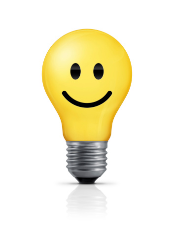 Light Bulb Smiley Face Stock Photo - Download Image Now