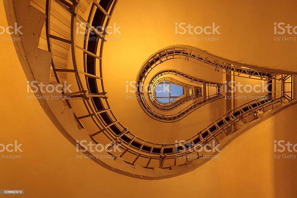 Light bulb staircase stock photo