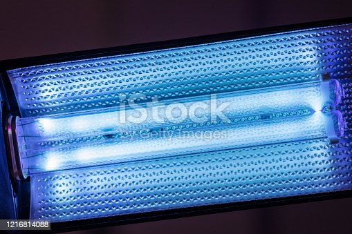 UVC G23 fluorescent bulb. Ultraviolet capable sterilize of eliminating germs and all sorts of bacteria using UV light. destroy viruses on tools and surfaces