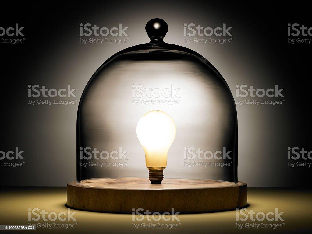 Лампа накаливания под стеклянным куполом Стоковые фото Стоковая фотография