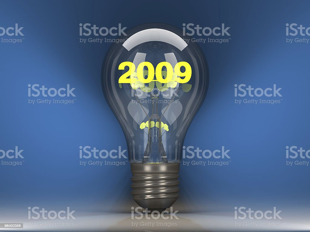 Light bulb with 2009 inside royalty-free stock photo