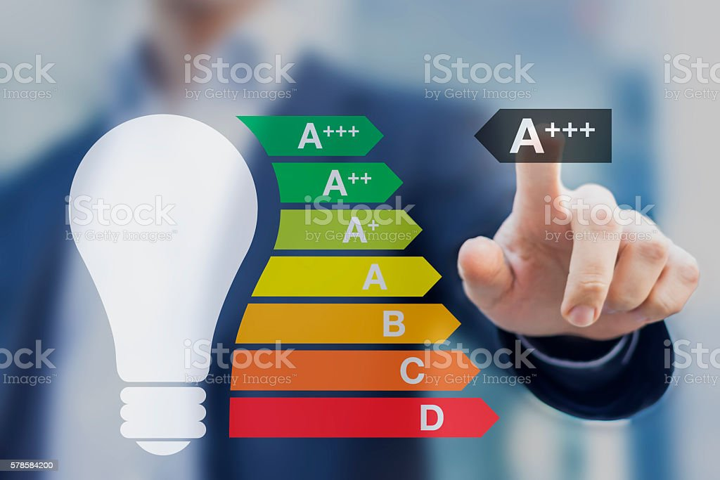 Light bulb with a+++ performance class European energy efficiency stock photo