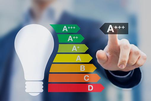 Light Bulb With A Performance Class European Energy Efficiency Stockfoto und mehr Bilder von Analysieren