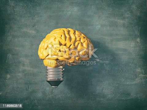 1007367156 istock photo Light bulb with a yellow brain instead of the glass. 3d render illustration 1189860518