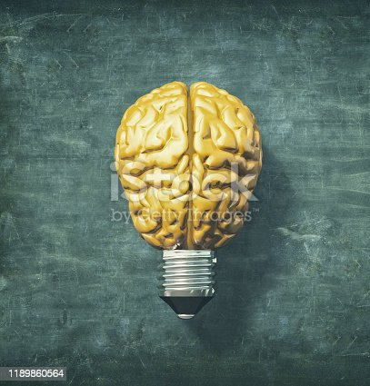 1007367156 istock photo Light bulb with a yellow brain instead of the glass. 3d render illustration 1189860564