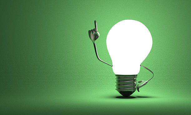 Light bulb with big hands in moment of insight Glowing light bulb character with big metallic hands in moment of insight on green textured background aha stock pictures, royalty-free photos & images