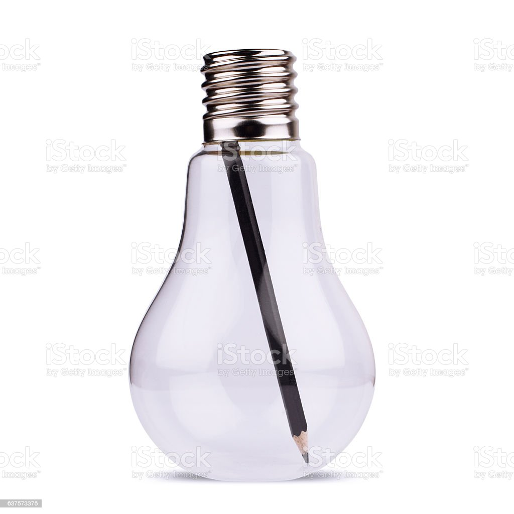 light bulb with black pencil inside on white stock photo