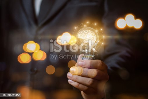 istock Light bulb with brain the hands of the businessman. 1018432958