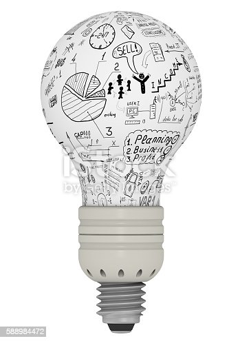 Light bulb with business sketches. The concept of idea generation. Isolated. 3D Illustration
