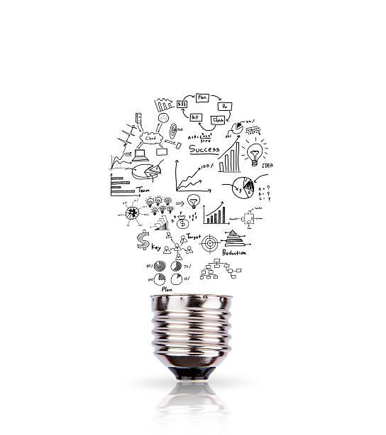 Glühbirne mit Zeichnung graph innen isoliert auf weißem backgroun – Foto