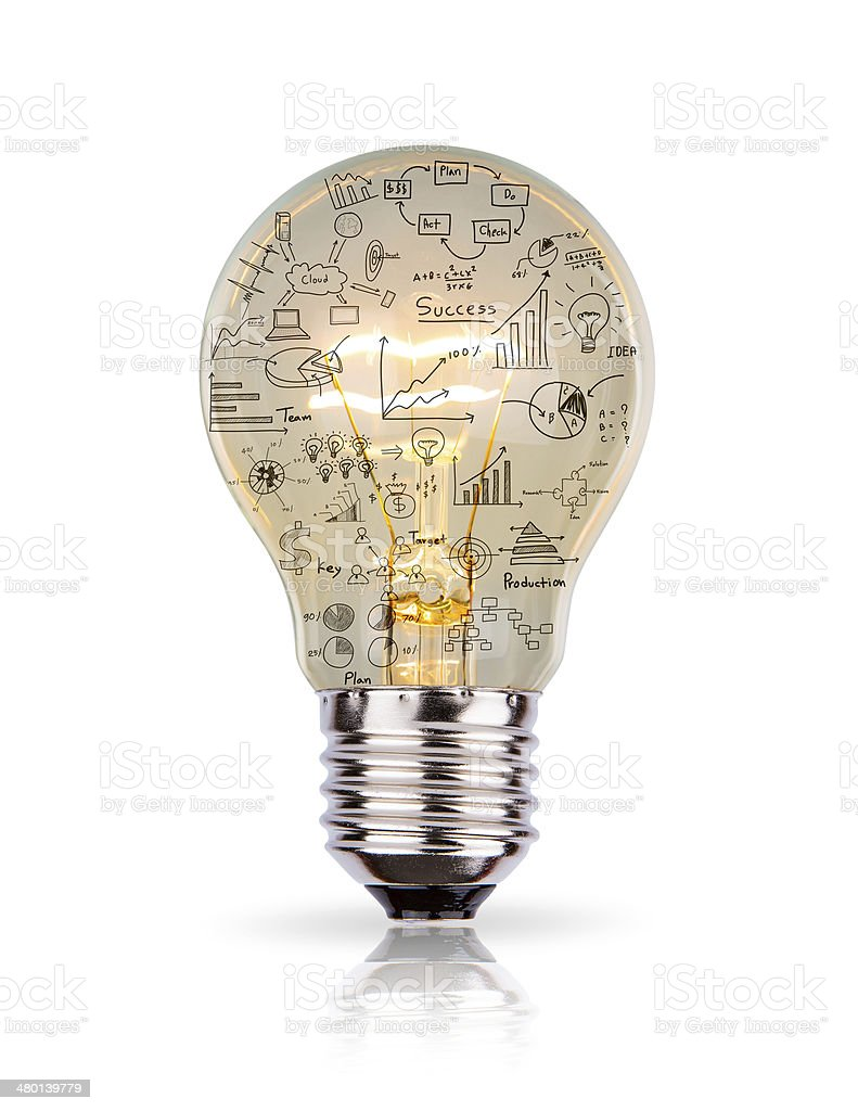 Light bulb with drawing graph inside isolated on white backgroun stock photo
