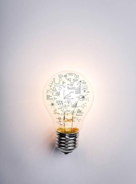 Glühbirne mit Zeichnung graph – Foto