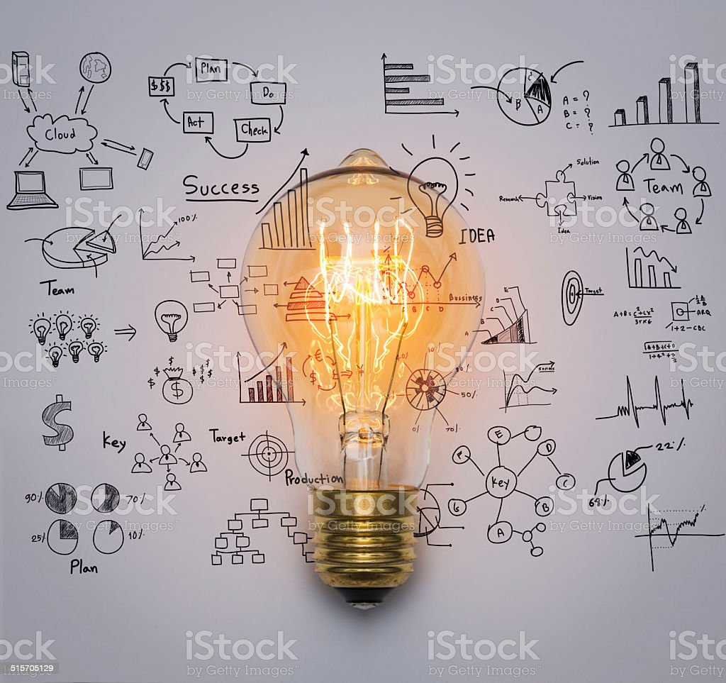 Light bulb with drawing graph stock photo