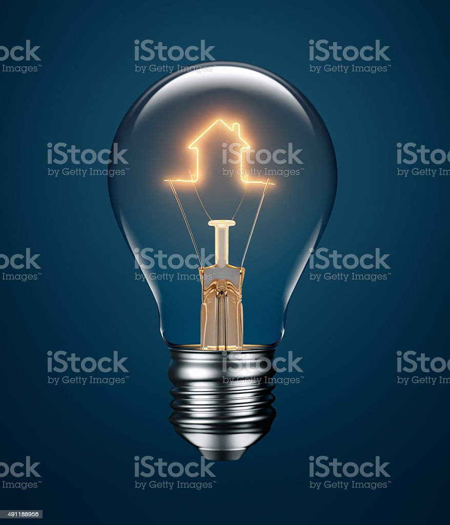 Light Bulb with Filament Forming a House Icon stock photo