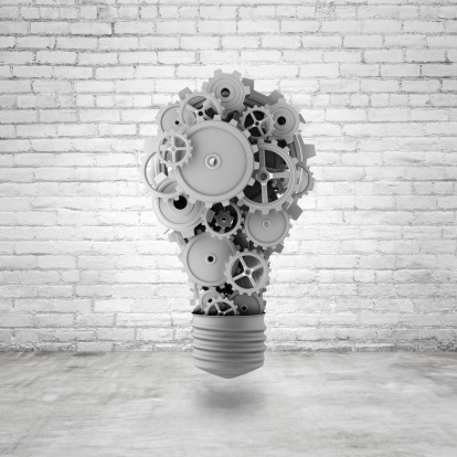 Light Bulb With Gears Stock Photo - Download Image Now