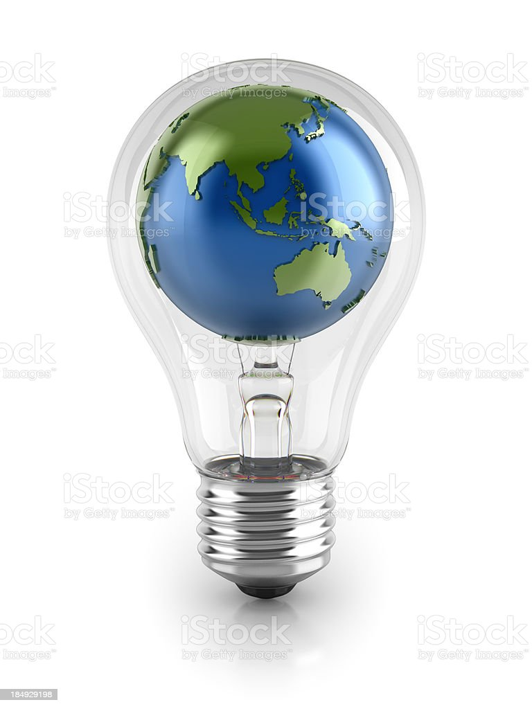 Light bulb with Globe (clip path) stock photo