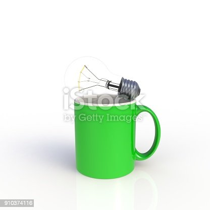 902096164 istock photo Light bulb with green coffee cup isolated on white background. Mock up Template for application design. Exhibition equipment. Set template for the placement of the logo. 3D rendering. 910374116