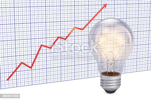 istock Light bulb with growing chart. 3D rendering 960901830