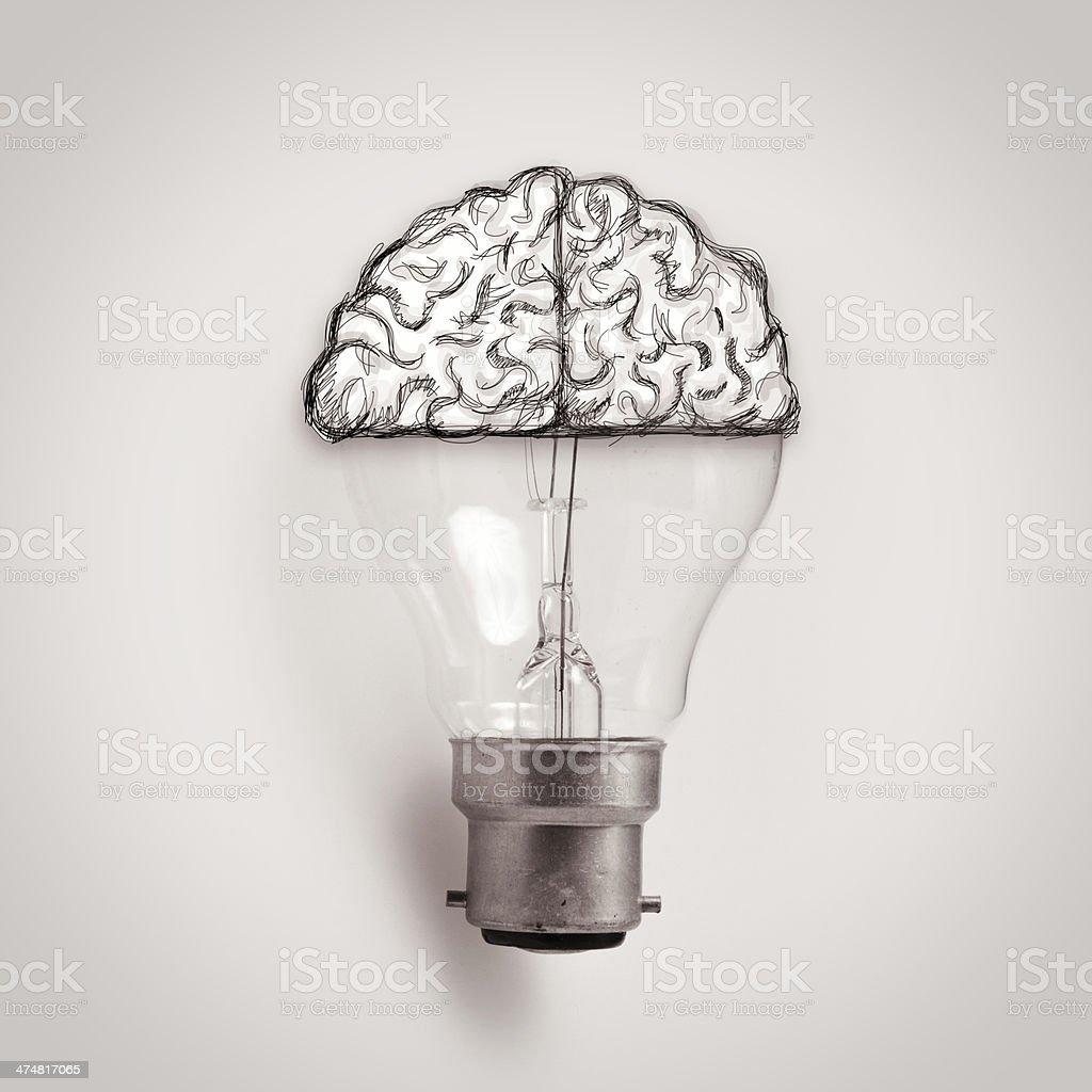 Light bulb with hand drawn brain as creative idea concept royalty-free stock photo