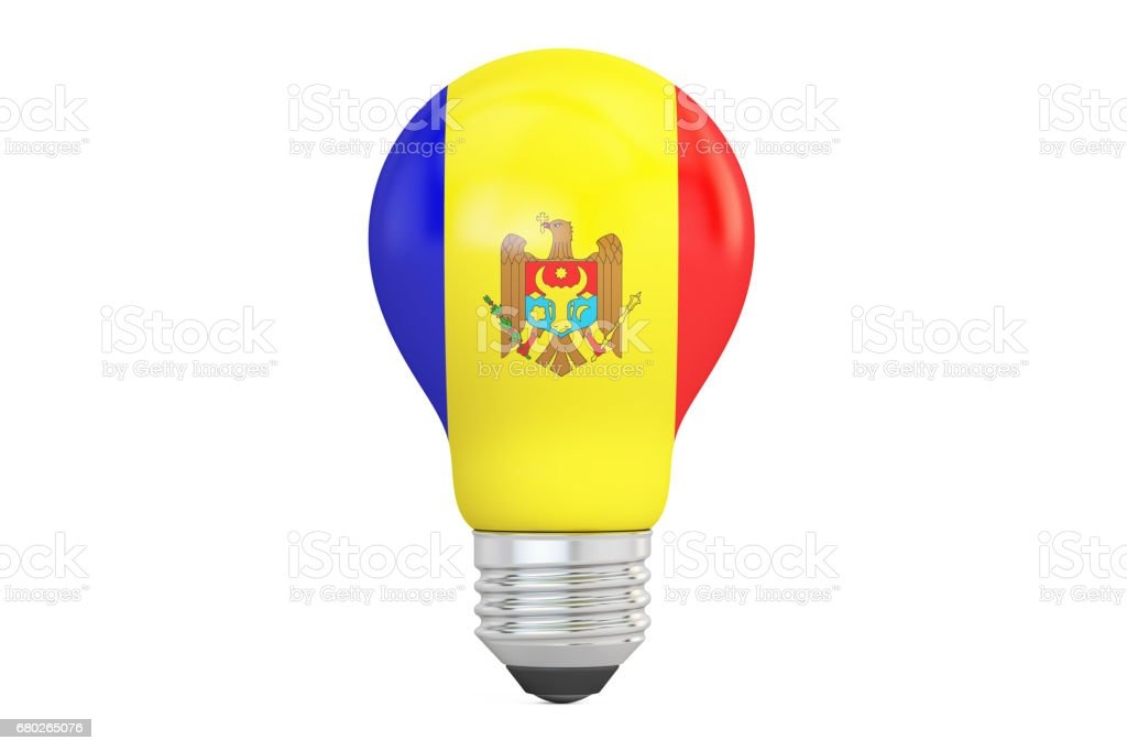 Light bulb with Moldova flag, 3D rendering isolated on white background stock photo