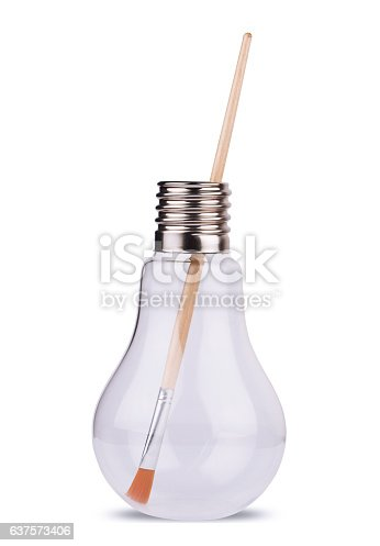 istock light bulb with painting brush inside on white 637573406