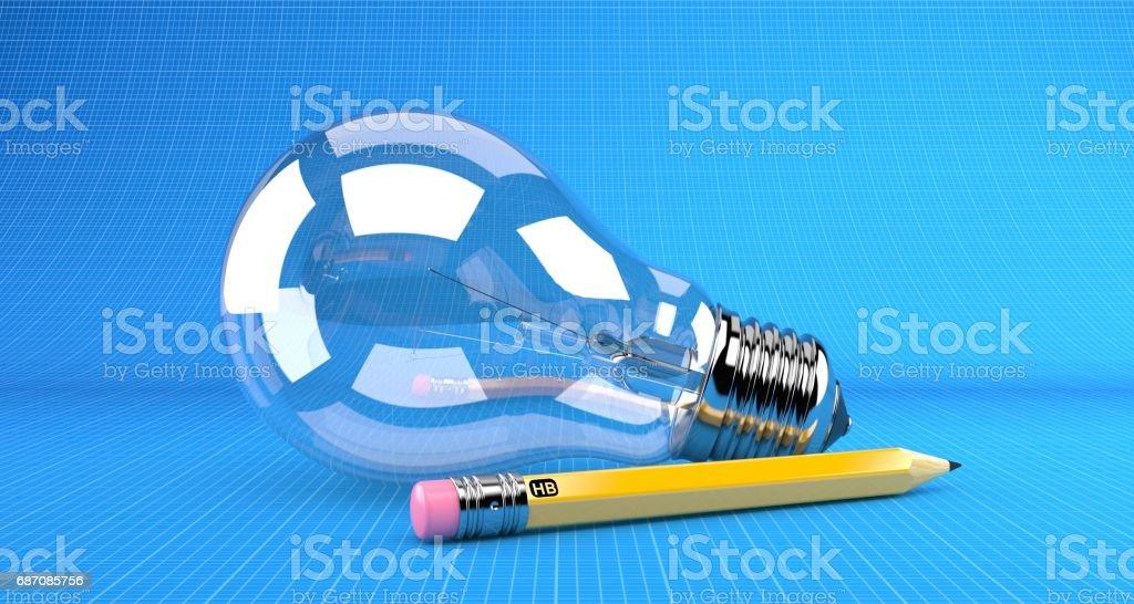 Glühbirne mit Bleistift Lizenzfreies stock-foto