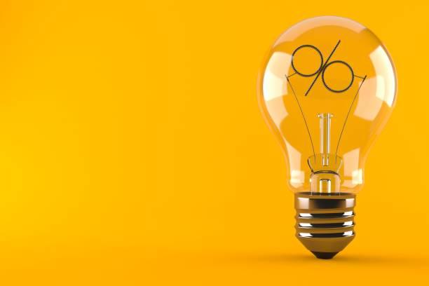 Light bulb with percent symbol - foto stock