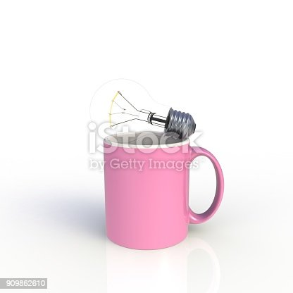 902096164 istock photo Light bulb with pink coffee cup isolated on white background. Mock up Template for application design. Exhibition equipment. Set template for the placement of the logo. 3D rendering. 909862610