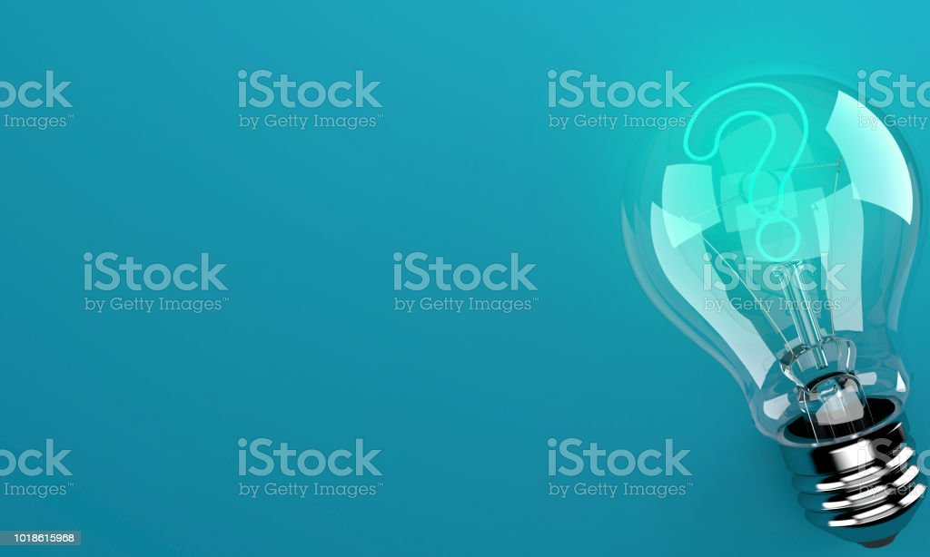 Light bulb with question mark stock photo