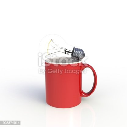 904387004 istock photo Light bulb with red coffee cup isolated on white background. Mock up Template for application design. Exhibition equipment. Set template for the placement of the logo. 3D rendering. 908874914