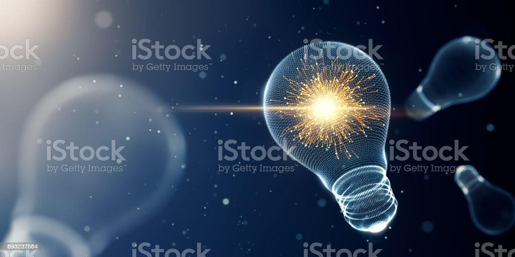 Light bulb with sparks stock photo