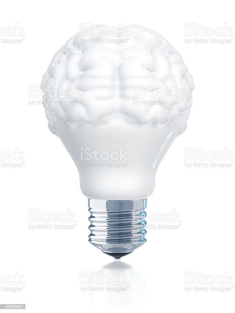 A light bulb with the top half in the shape of a brain stock photo