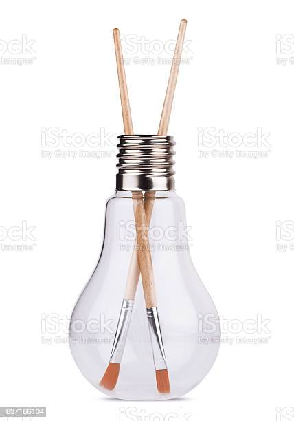 Light bulb with two painting brushes inside on white picture id637166104?b=1&k=6&m=637166104&s=612x612&h=radm7hse9tzpo ceoy3dgjawntdmxlojibevday5mng=