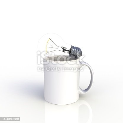 904387004 istock photo Light bulb with white coffee cup isolated on white background. Mock up Template for application design. Exhibition equipment. Set template for the placement of the logo. 3D rendering. 904389338