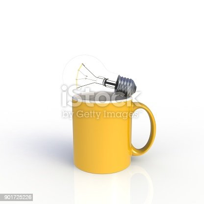 904387004 istock photo Light bulb with yellow coffee cup isolated on white background. Mock up Template for application design. Exhibition equipment. Set template for the placement of the logo. 3D rendering. 901725226