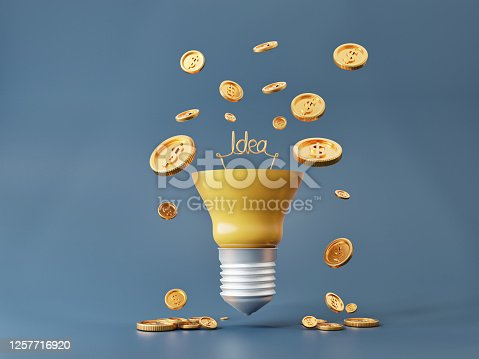637573406 istock photo Light bulbs and money coins for money making ideas with 3d illustrations 1257716920